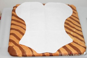Let it cool and using a paper template cut a corset shape.