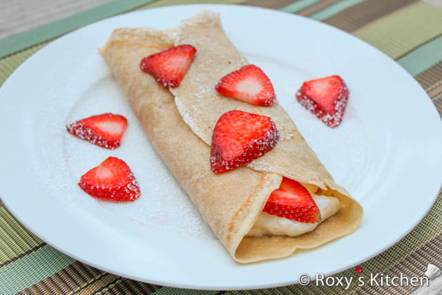 Coffee Crepes with Strawberries - Roxy's Kitchen