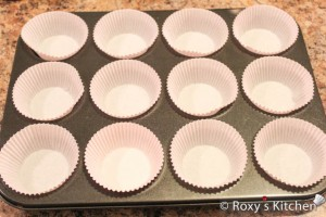Strawberry Cupcakes - Line a muffin tin with baking cups
