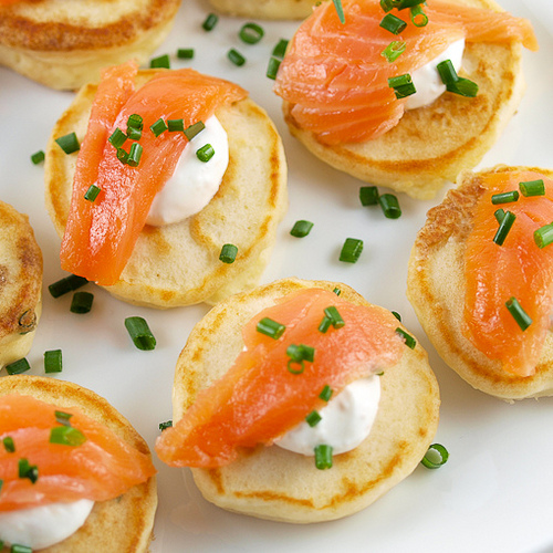 Cream Cheese Pancakes with Smoked Salmon