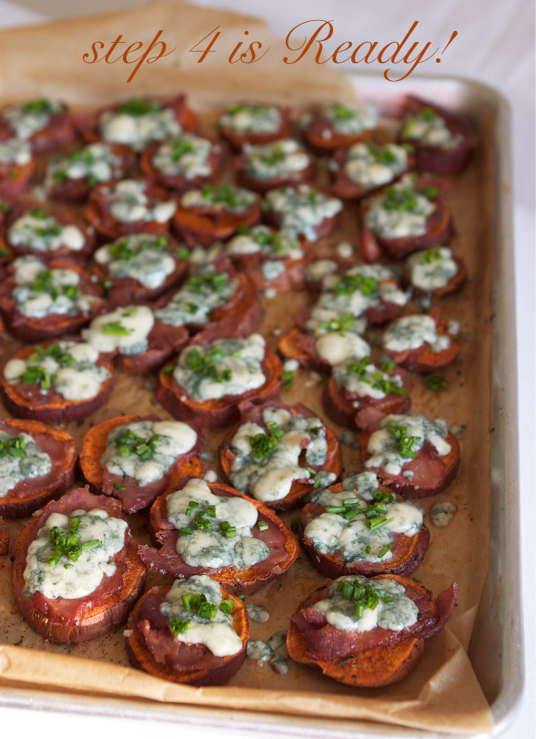 Sweet Potatoes with Blue Cheese and Bacon